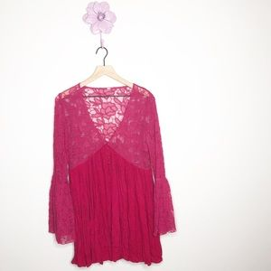Free People Pink Lace Bell Sleeve V Neck Dress